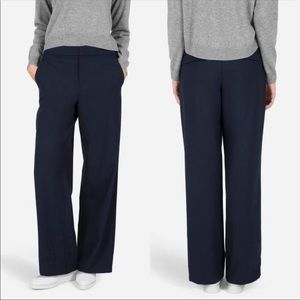 EVERLANE 6 Navy wide leg cropped ankle pants
